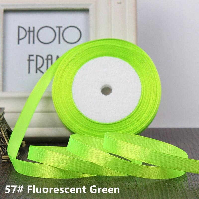25 ярдов/рулон 6 мм 10 мм 15 мм 20 мм 25 мм 40 мм 50 мм шелковые атласные ленты для рукоделия бант ручной работы подарочная упаковка вечерние свадебные декоративные - Цвет: 57 fluorescent green