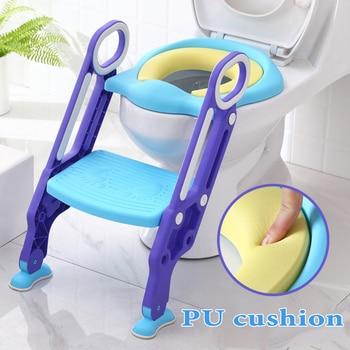 цена на 2020  New Baby Potty Training Seat Children's Potty Baby Toilet Seat With Adjustable Ladder Infant Toilet Training Folding Seat