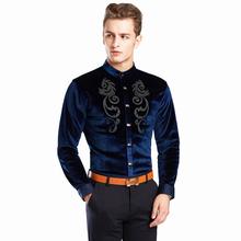 Koszula haft aksamitna męska koszula z długim rękawem stójka dla mężczyzn Camisas Masculina Manga Longa męska koszula z guzikami tanie tanio Włókno poliestrowe COTTON Koszule Pełna Skręcić w dół kołnierz Pojedyncze piersi REGULAR L058 Velvet gold shirt