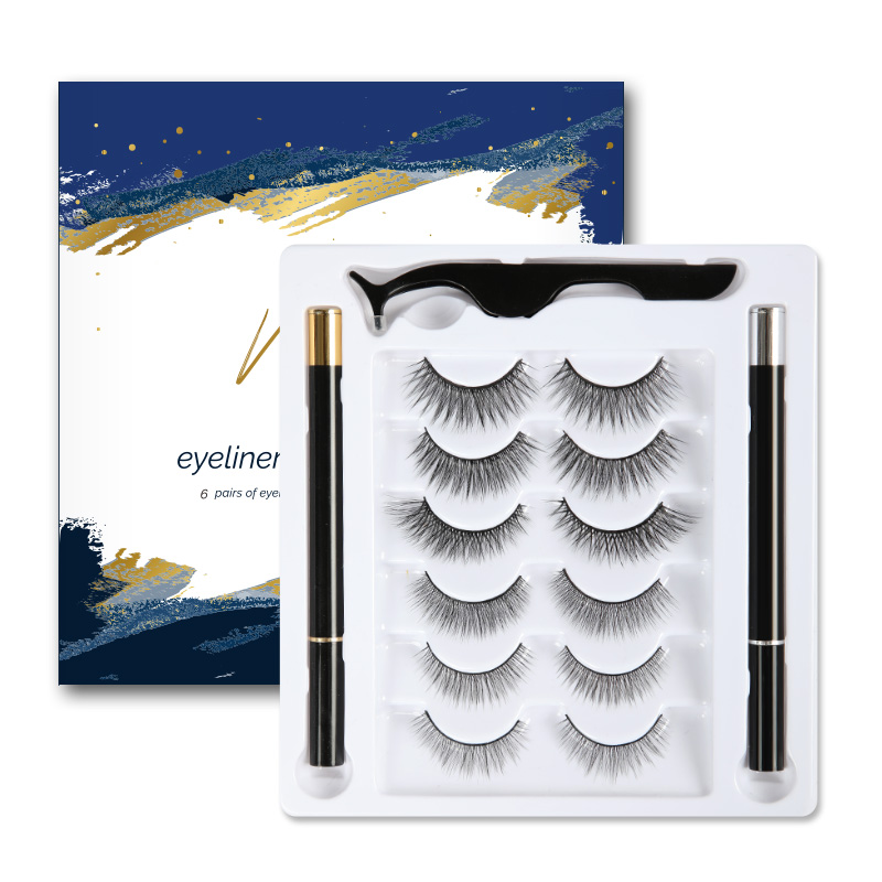 6 Pairs Magic <font><b>Eyelashes</b></font> <font><b>Set</b></font> Non <font><b>magnetic</b></font> <font><b>Eyelashes</b></font> Handmade Waterproof Lashes & Black <font><b>and</b></font> Transparent 2 pcs Magic <font><b>Eyeliner</b></font> image