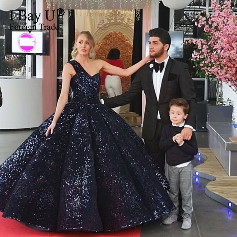 Navy Blue Luxury Formal Evening Dress 2020 Bling Sequined Fashion Designer Floor Length Formal Party Gown Dress Robe De Soiree