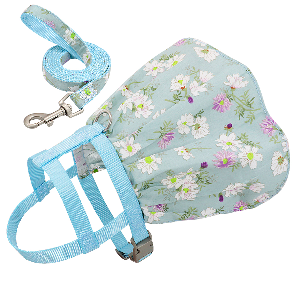Small Puppy Dog Cat Clothes Harness Leash Adjustable Floral Printed Pet Harness Vest Dress For Small Medium Dogs Cats Chihuahua 7