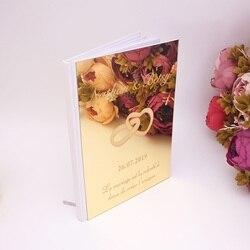 Оригинальное акриловое зеркало, двойные кольца, свадебная книга для гостей, пустой лист, персонализированное имя, вечерние книги, вечерние ...