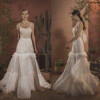 Chic Beading Wedding Dresses 2020 Spaghetti Neck Boho Appliqued Bridal Gowns Floor Length Chiffon Wedding Dress