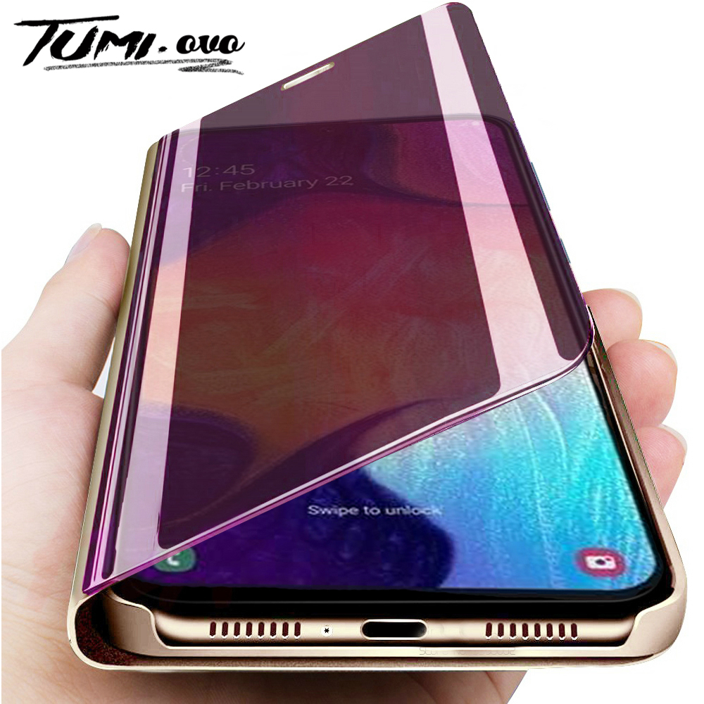 Mirror Flip Phone Case for Samsung Galaxy A11 A31 A51 A71 A81 Cover For Samsung Galaxy S20 Ultra S10 Plus S10E Note 10 Pro Cover(China)