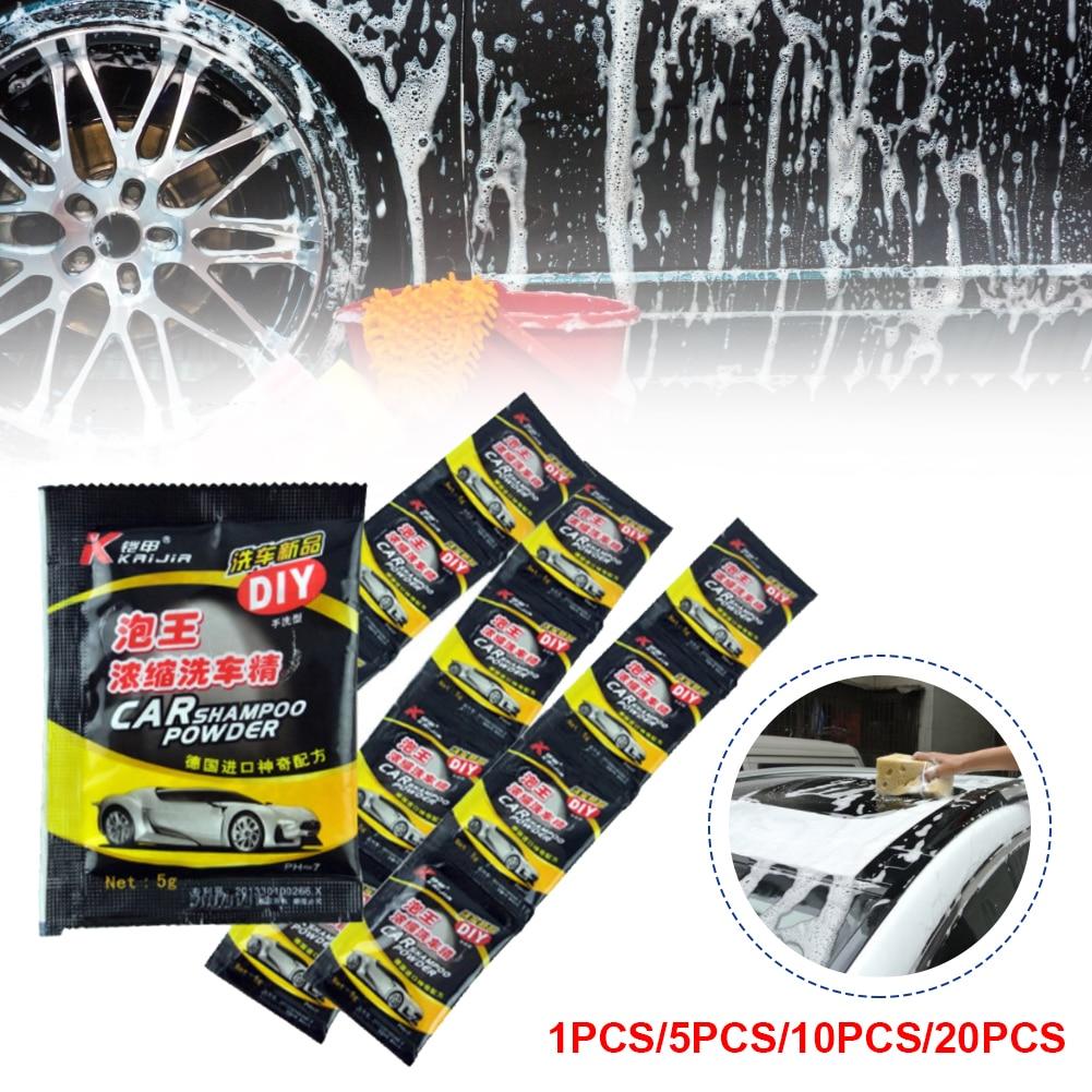 20Pcs Car Wash Powder Car Cleaning Shampoo Multifunctional Cleaning Tools Car Soap Powder Car Windshield Wash Accessories