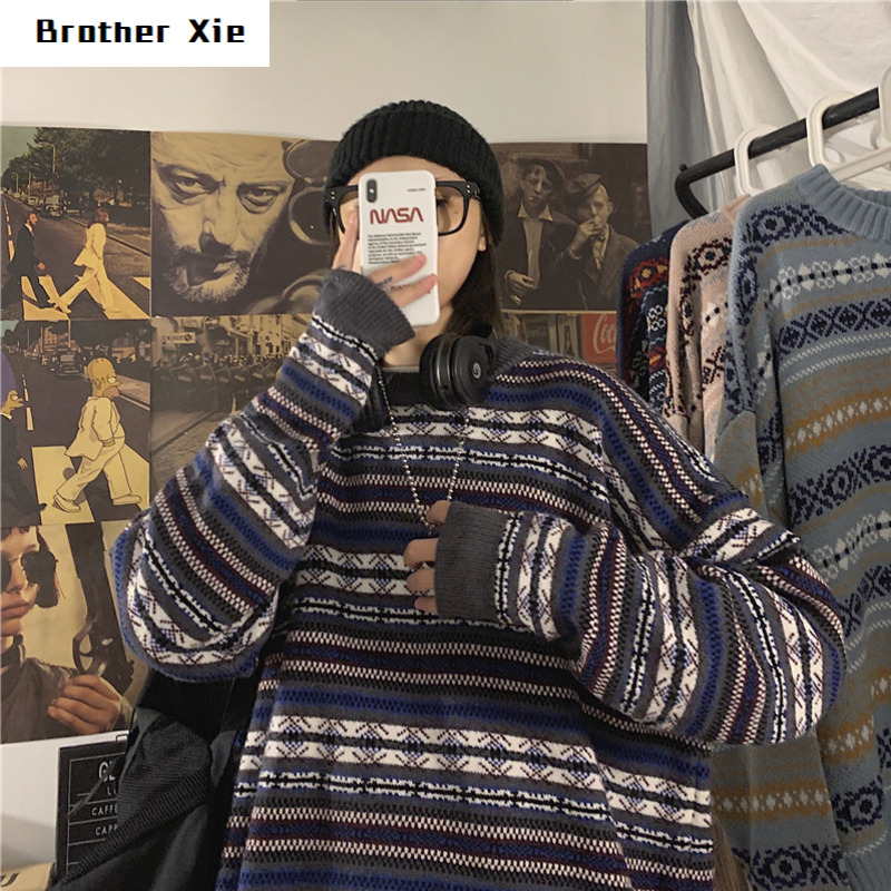 Winter Retro Sweater Men's Warm Fashion Print Casual O-neck Knit Pullover Man Wild Loose Long-sleeved Sweater Male Clothes