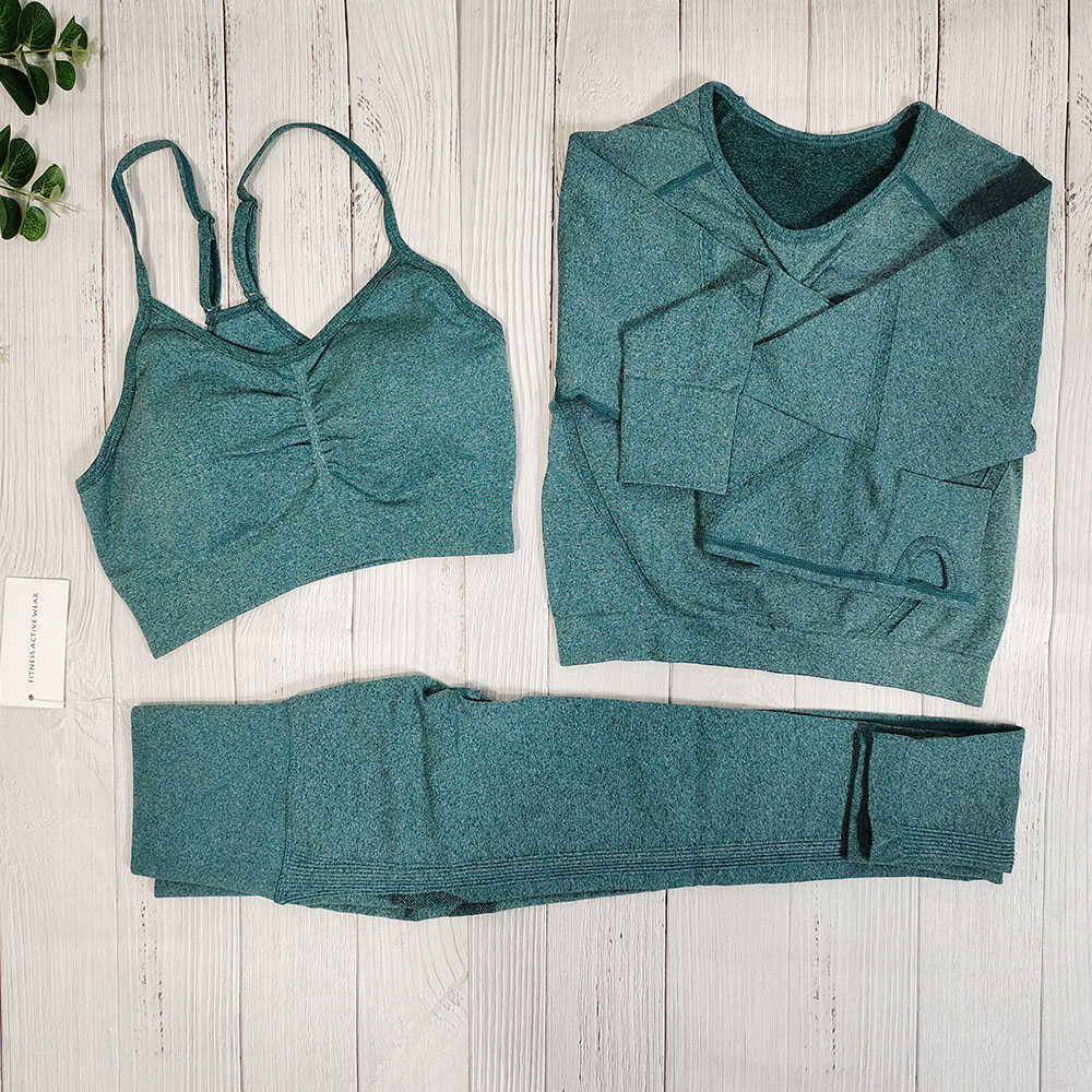 Yoga Clothing Set Sports Suit Women Workout Sports Outfit Fitness Set Wear High Waist Gym Seamless