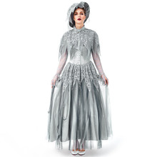 Fashion Women Halloween Cosplay Dress Vintage Style Long Ghost Bride Gothic Lace