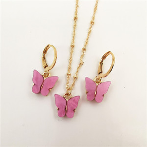 2020 New Fashion Candy Colors Acrylic Butterfly Pendant Necklace for Women Trendy Bead Chian Clavicle Chian Collier Ras Du Cou(China)