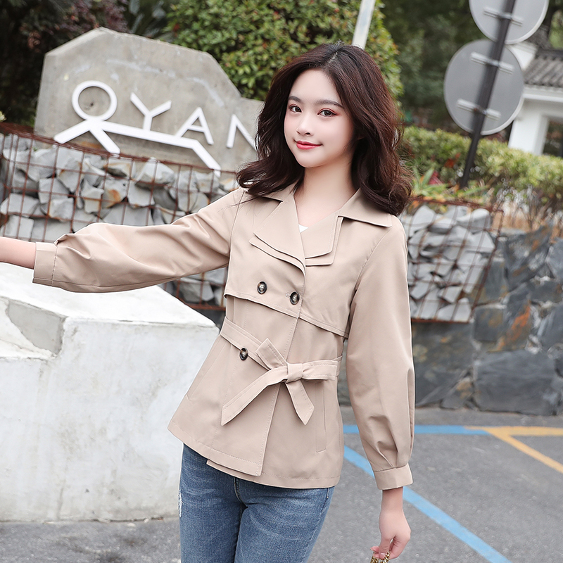 Spring and Autumn new Korean women version of casual tooling windbreaker loose jacket Double Breasted section women's jacket