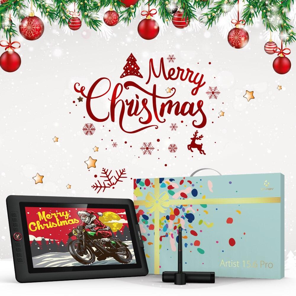 Xp-caneta artista 15.6pro desenho tablet monitor versão do feriado presente 1920x1080 gráficos com teclas de atalho e rolos