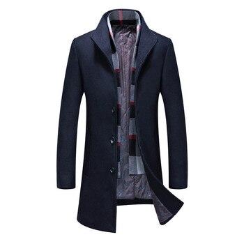 Men's Long Coat Wool Overcoat Turn Collar Warm Woolen Jackets Men's Coat Casual Trench Coat Scarf Winter Men's Coat Outwear