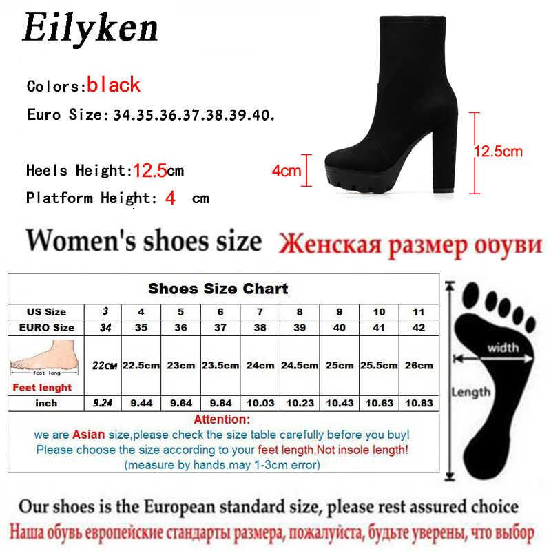 EilyKen moda kadınlar bayanlar yuvarlak ayak yüksek topuk yarım çizmeler fermuar sonbahar kış blok topuk platformu patik siyah boy 41 42