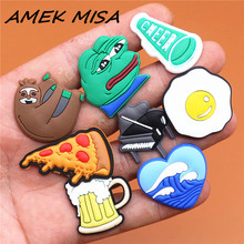 Single Sale 1pcs Animals 29 Types Shoe Charms Accessories Decorations Sad Frog PVC Croc jibitz Buckle for Kids Party Xmas Gifts cheap AMEK MISA CN(Origin) Shoe Decorations U181