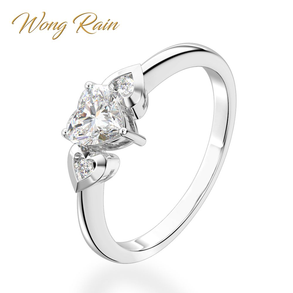 Wong Rain Romantic 100% 925 Sterling Silver Heart Created Moissanite Gemstone Wedding Engagement Ring Fine Jewelry Wholesale