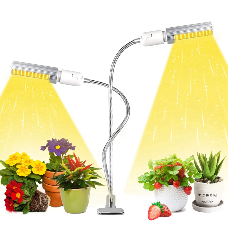 50W Led Grow Light For Indoor Plant, Super Bright 100 LED Full Spectrum Grow Lamp White, Dual Head Gooseneck Desk Plant Light Wi