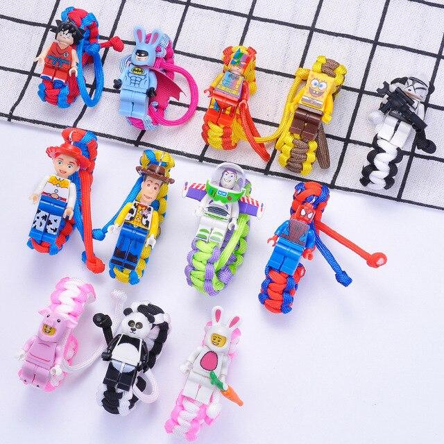 Disney Toy Story Buzz Lightyear Woody Spiderman Building Block Woven Bracelet Bracelet Action Figure Toy Child Birthday Gift
