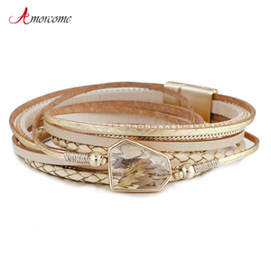 Amorcome Crystal Leather Bracelets for Women 2020 Fashion Metal Charm Ladies Bohemian Multilayer Wrap Bracelet Party Jewelry