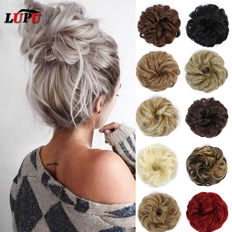 LUPU Synthetic Hair Bun Messy Curly Scrunchie Chignon With Elastic Band Updo Hair Extensions Hairpieces For Women Heat Resistant