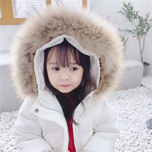 Image 4 - 2019 dzieci jesień i zima nowe dzieci biały puch kaczy dół kurtki dla dziewczynek średnim i długim prawdziwa wełna kołnierz płaszcz