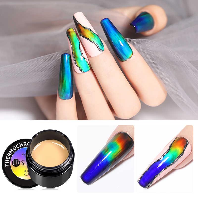 UR SUGAR Thermochromic Liquid Neon Auroras เล็บสีเปลี่ยนเล็บเจล 2G Soak Off UV GEL เคลือบเงากึ่งเจล