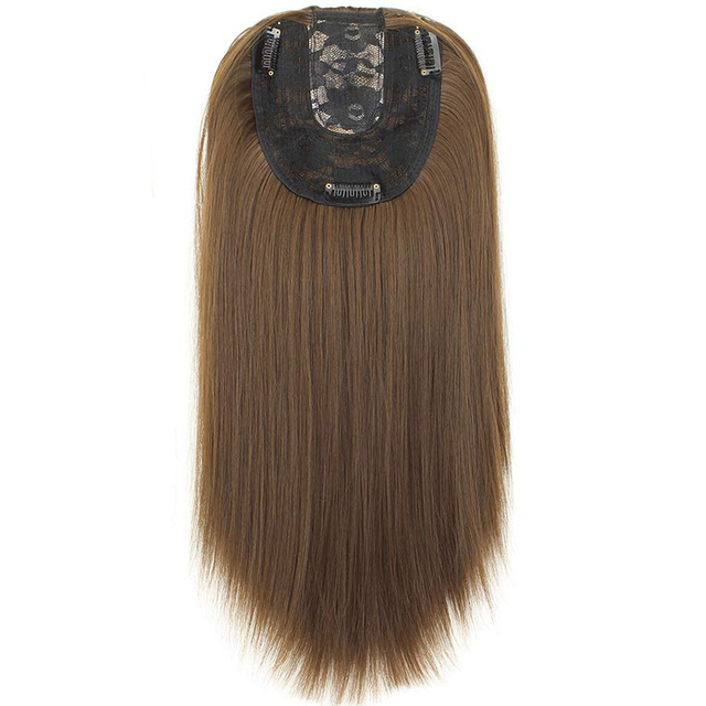 Women Hair Topper Piece Synthetic Hair 3 Clips In one piece Hair Extension long straight High Temperature Fiber 4