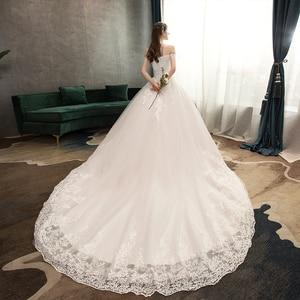 Image 2 - Nova chegada doce elegante princesa luxo rendas vestido de casamento 100 cm barco pescoço apliques celebridade vestido de baile