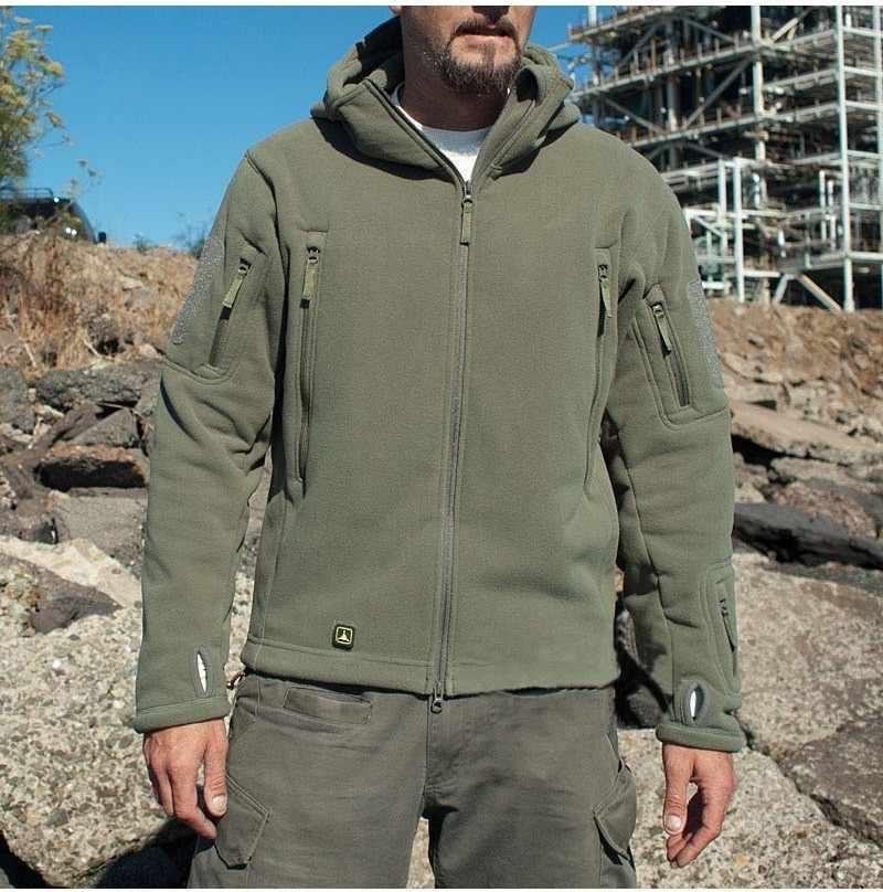 남자 미국 군사 겨울 열 양털 전술 재킷 야외 스포츠 후드 코트 군사 Softshell 하이킹 야외 육군 재킷