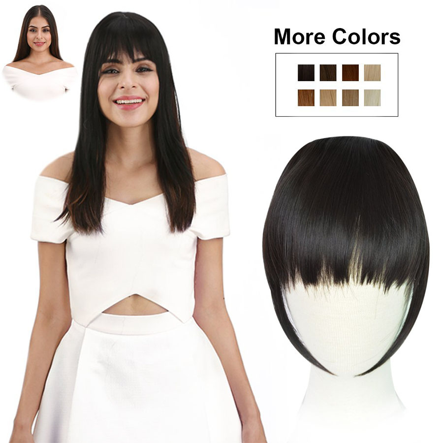 WEILAI 2 Clips Clip In Extension Of Hair Black Brown Blonde Side Symmetry Fringe Bangs Hair Pieces Synthetic Hair Bangs