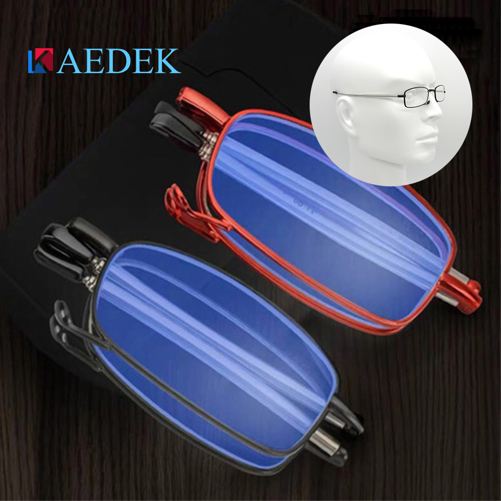 KAEDEK Fashion Folding Unisex Anti-fatigue Anti-Blue-Light Small reading glasses Computer For Sight With Diopters With Original