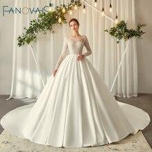 Elegante vestido de novia de marfil de manga larga 2019 vestido de novia de bola de cristal vestido de novia