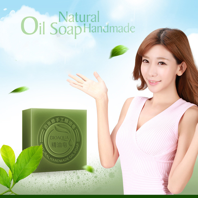 Organic Matcha Green Tea Handmade Soap Skin Whitening Moisturizing Face Cleansing Soap Remove Acne Cleansing Bath Bar Soap 100g