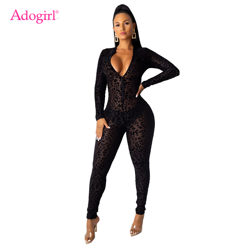 Adogirl Women Sexy Sheer Mesh Flocking Leopard Jumpsuit Front Zipper V Neck Long Sleeve Skinny Romper Night Club Bodysuits