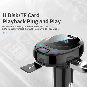YIBEIKA Car Charger with FM Transmitter Bluetooth Receiver 3.1A Dual USB Car Phone Charger Audio MP3 Player TF, Card Car Kit 1
