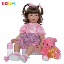 купить KEIUMI 24 Inch Reborn Dolls 60cm Cloth Body Newborn Girl Babies Toy Princess Boneca Baby Doll For Sale Kid Birthday Gift Collect дешево