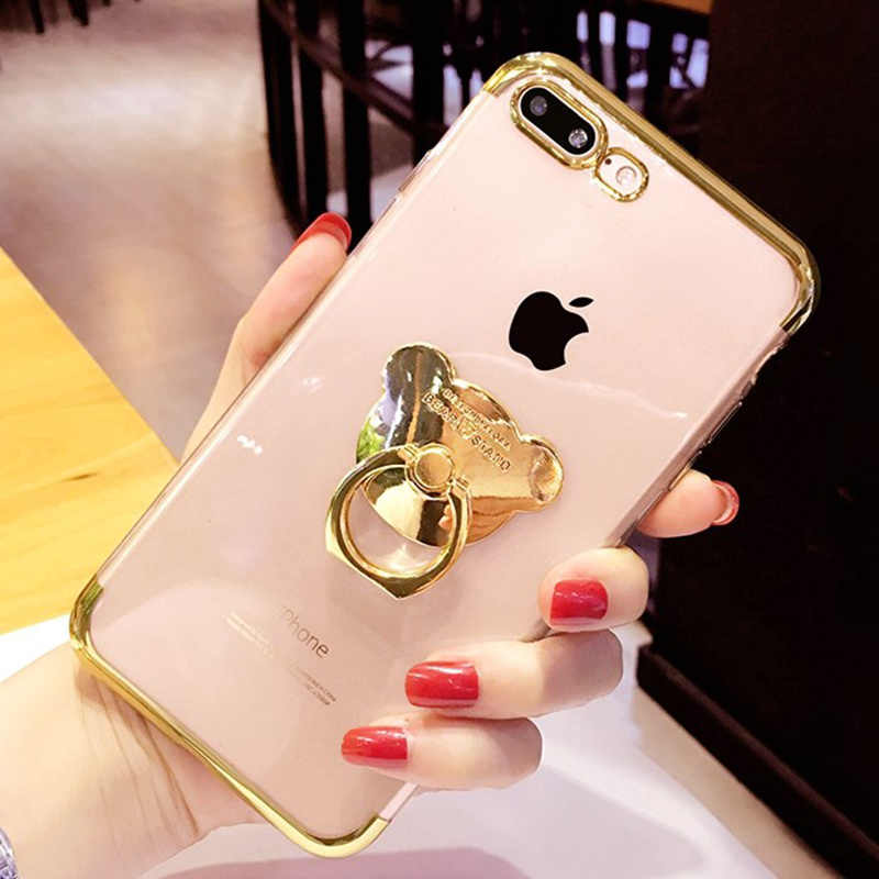 For Oneplus 7 Pro Plating Case For Oneplus 5 5T 6 6T DIY Ring Bear Holder Stand Cute Plating Soft Silicon Clear Ultra Thin Cover