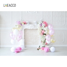 Laeacco Baby Birthday Balloons Flowers Fireplace Cake Photography Backgrounds Customized Photographic Backdrop For Photo Studio