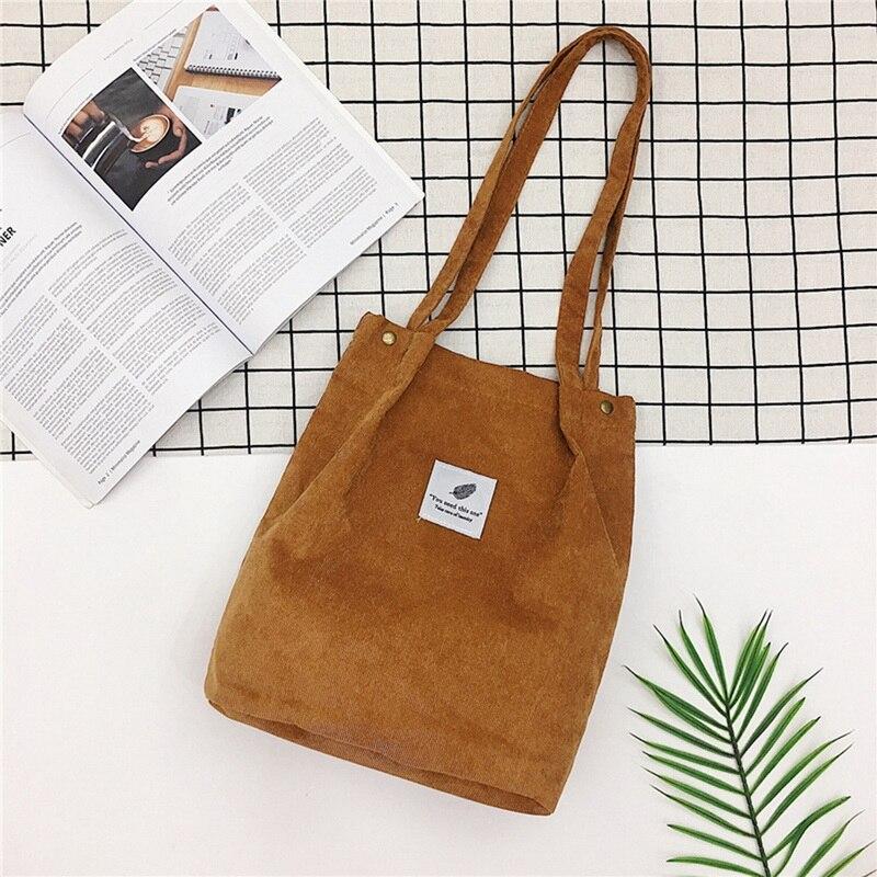 LOOZYKIT Women Solid  Corduroy Shoulder Bags Shopping Bag Tote Package Crossbody Bags Purses Casual Handbag For Women Bookbag