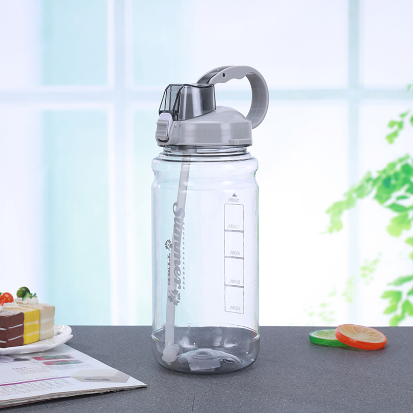 Free shipping portable sport drink bottle 2000ml with straw large for sports gym bottle with lid & handle bpa free drinkware