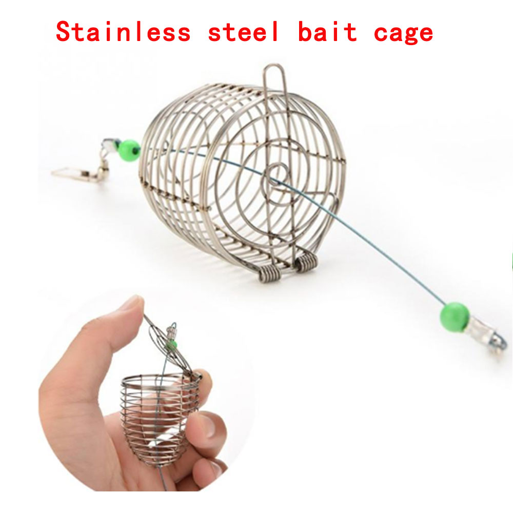 Stainless Steel Nesting Cage Metal Bait Cage Fixed Point Nesting Machine Automatic Bottom Bait Cage Fishing Gear Fishing Supplie