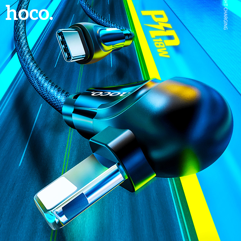 HOCO PD Type C To Lighting Cable For IPhone 11 Pro Xs Max X XR Macbook 18W PD 3A Fast Charging Sync Data Cord Elbow USB C Cable