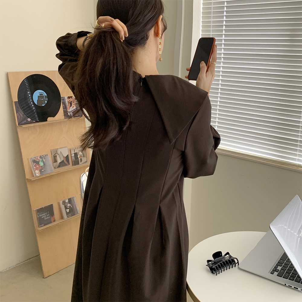 H5194b8e97ce14b2ea9084cde0fecec55s - Autumn Big Lapel Collar Long Lantern Sleeves Solid Loose Midi Dress