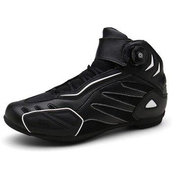 Botas antideslizantes para motociclismo para hombre, zapatos para Motocross, transpirables, Chopper Touring