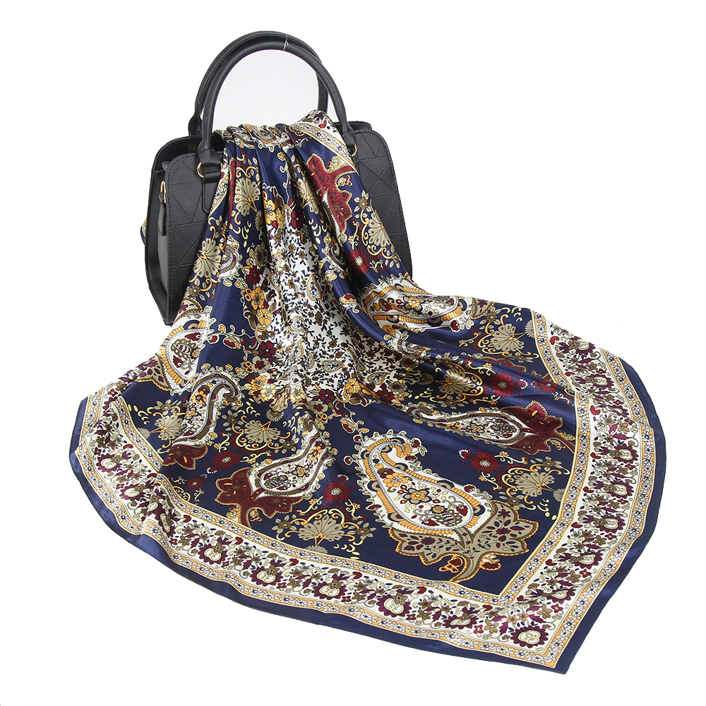 2020 Silk Scarf Women Hijab Fashion Luxury Brand Designer Foulard Soft Kerchief 90*90cm Square Shawls And Wraps Satin Headscarf