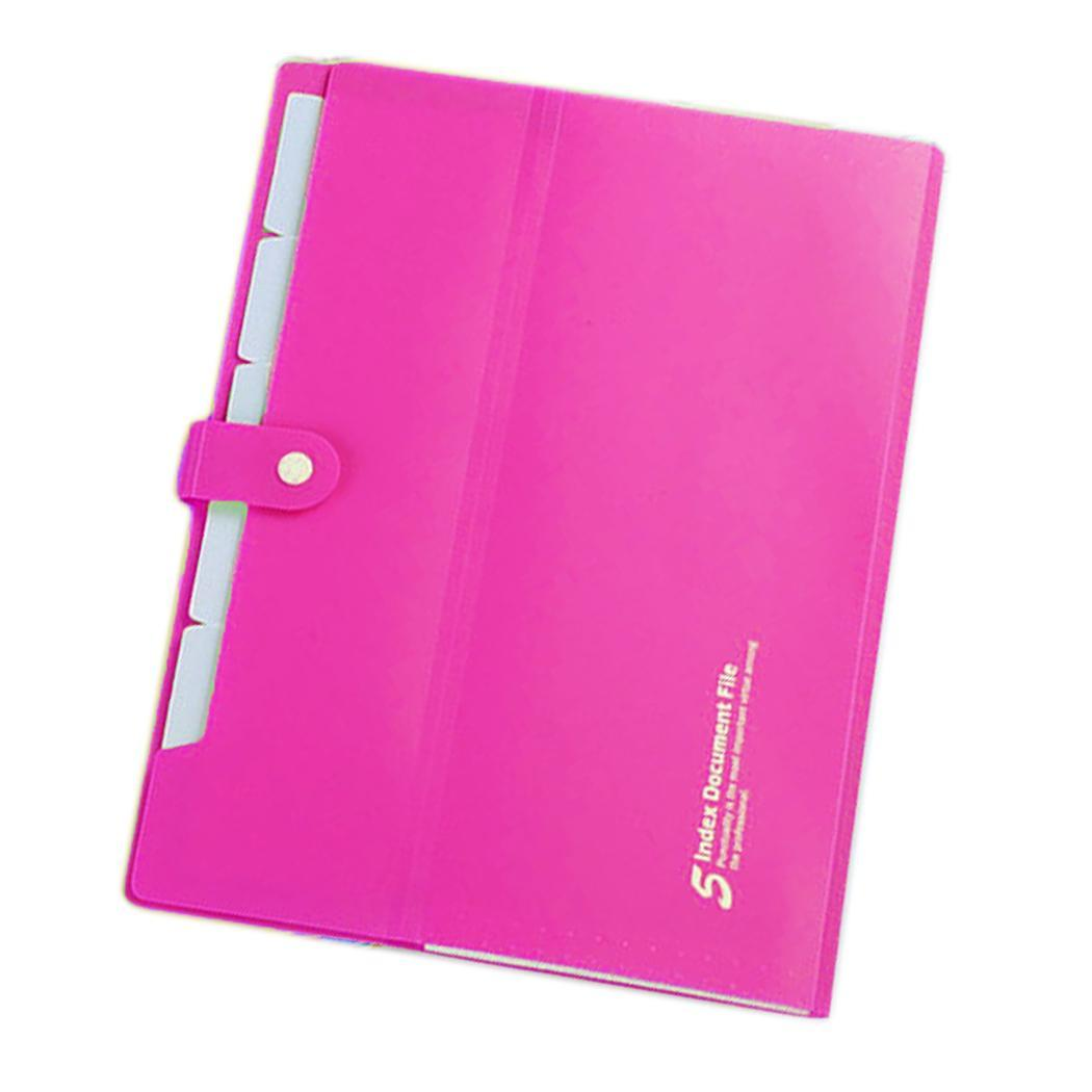 Expanding File Folders Paper Organizer Document Holder Solid For Snap Closure A4 5 Pockets School Office