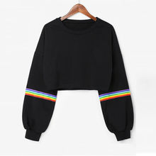 KANCOOLD top t-shirt High street Long Sleeve Striped Crop Short Jumper Black Pullover Top fashion new top women2020JAN17(China)