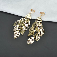 Gold Silver Color Multilayer Leaves Clip On Earrings Without Piercing Exaggerated Women Metal Long Earing Non Pierced Earcuffs