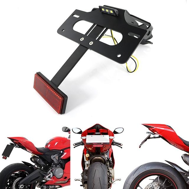 Apto para Ducati 1199 1299 Panigale 899 959 Panigale soporte para matrícula soporte trasero guardabarros limpio trasero eliminador de kit de aluminio