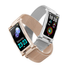 ONEVAN smart watch bransoletka z serduszkiem tlen Monitor ciśnienia krwi na temat pogody aktywności Tracker kobiety bransoletka fitness z metalowy zespół